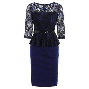 Lace Insert Peplum Bodycon Dress - PURPLISH BLUE 2XL