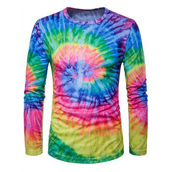 Long Sleeve Ombre Tie Dye Trippy T-Shirt