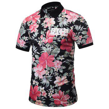 Short Sleeve Floral Print Polo Shirt