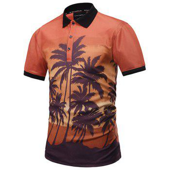 Coconut Palm Print Polo Shirt