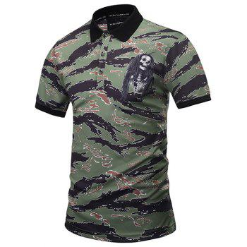 Skull Printed Camo Polo Shirt