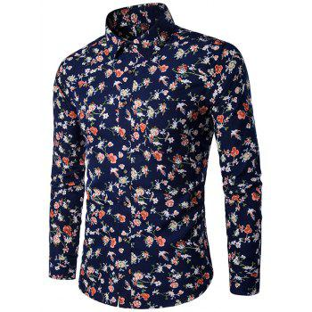 Buy 3D Flower Print Pocket Shirt PURPLISH BLUE