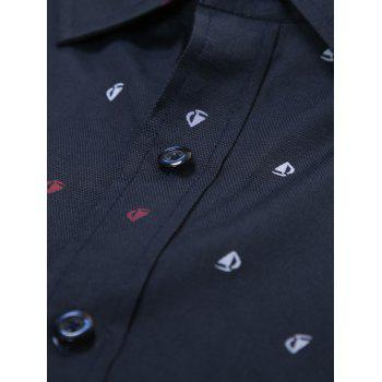 Long Sleeve Scattered Printed Shirt - L L