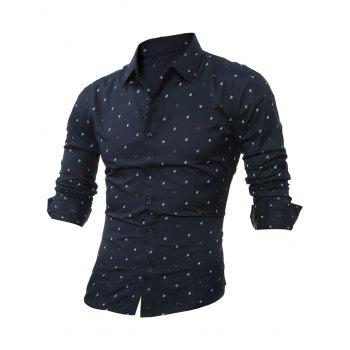Long Sleeve Scattered Printed Shirt - CADETBLUE L