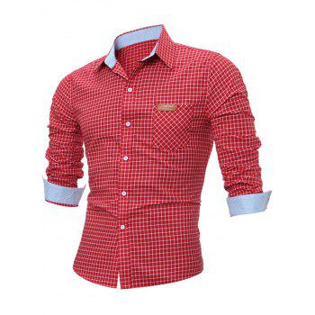 Long Sleeve Pocket Gingham Shirt - RED L
