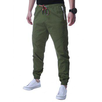 Zip Up Pocket Lace Up Jogger Pants