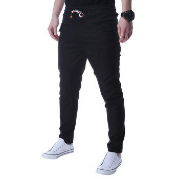 Low Slung Crotch Pocket Narrow Feet Pants