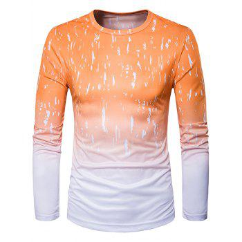 Long Sleeve Ombre Splatter Paint Trippy T-Shirt