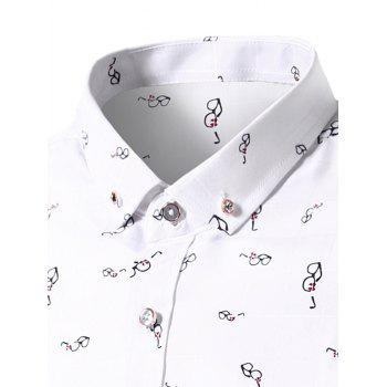 Button Down Glasses Print Shirt - XL XL