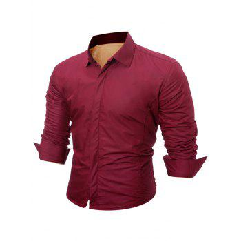 Buttoned Long Sleeve Flocking Shirt - WINE RED XL