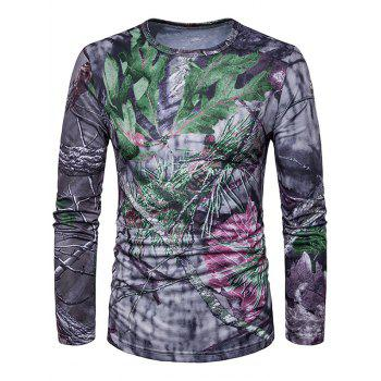 3D Leaves Print Long Sleeve Trippy T-Shirt