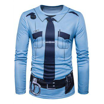 Long Sleeve Police Costume Print T-Shirt