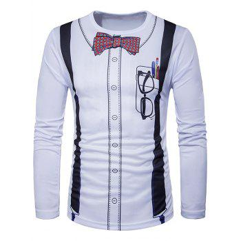 3D Bow Tie Print Long Sleeve T-Shirt