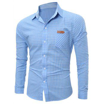 Long Sleeve Pocket Gingham Shirt - BLUE L