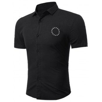 Short Sleeve Star Embroidered Shirt - BLACK BLACK