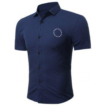 Short Sleeve Star Embroidered Shirt - SAPPHIRE BLUE 2XL