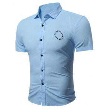 Short Sleeve Star Embroidered Shirt - ICE BLUE 3XL