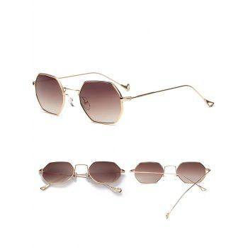 Polygon Mirrored Hollow Out Leg Sunglasses - GOLD FRAME/DRAK BROWN