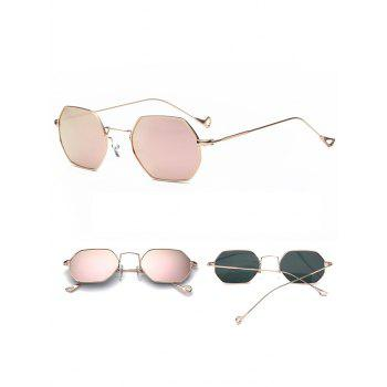 Polygon Mirrored Hollow Out Leg Sunglasses - GLOD FRAME / PINK LENS