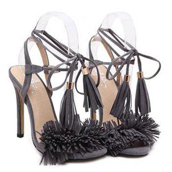 Tie Up Fringe Sandals