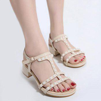 T Bar Faux Pearls Sandals