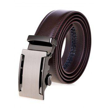 Faux Leather Wide Belt with Metallic Automatic Buckle