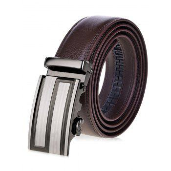 Waist Belt with Stripe Rectangular Automatic Buckle