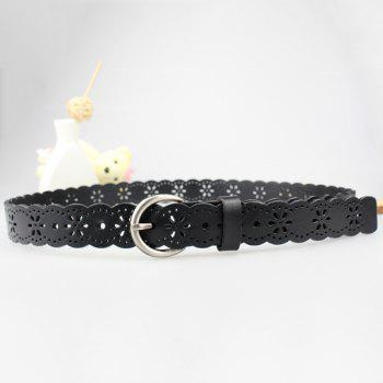 Hollow Out Snowflake Carved Scalloped Leather Belt -  BLACK
