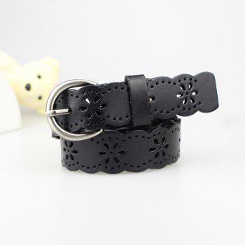 Hollow Out Snowflake Carved Scalloped Leather Belt - BLACK BLACK