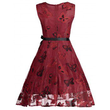 Butterfly Graphic Belted Short Formal Dress - RED 2XL