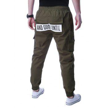 Beam Feet Graphic Applique Design Jogger Pants - ARMY GREEN XL
