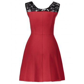 Lace Panel Sleeveless A Line Dress - RED XL