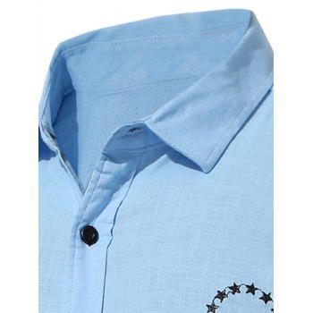 Short Sleeve Star Embroidered Shirt - ICE BLUE XL