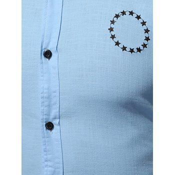 Short Sleeve Star Embroidered Shirt - ICE BLUE M