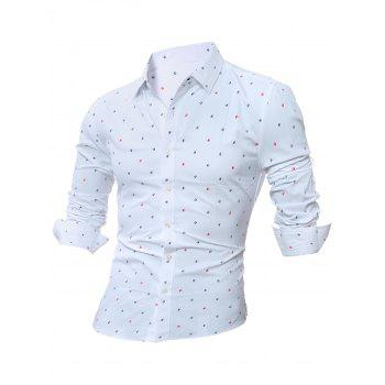 Long Sleeve Scattered Printed Shirt - WHITE WHITE