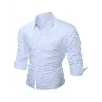 Buttoned Long Sleeve Flocking Shirt - WHITE WHITE