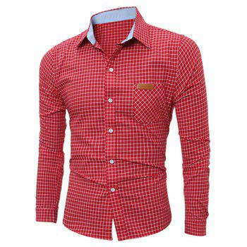 Long Sleeve Pocket Gingham Shirt - RED RED