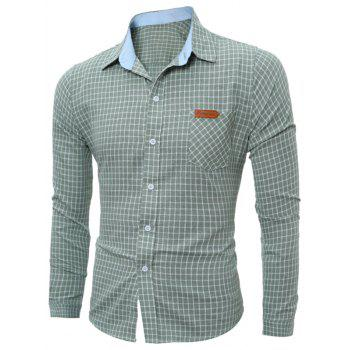 Long Sleeve Pocket Gingham Shirt - GREEN GREEN