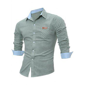 Long Sleeve Pocket Gingham Shirt - GREEN M