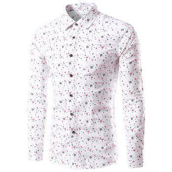 Long Sleeve Splatter Paint Dot Print Shirt - WHITE WHITE