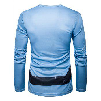 Long Sleeve Police Costume Print T-Shirt - LIGHT BLUE 2XL