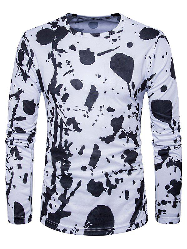 Splatter Paint Print Long Sleeve T-Shirt - BLACK 2XL