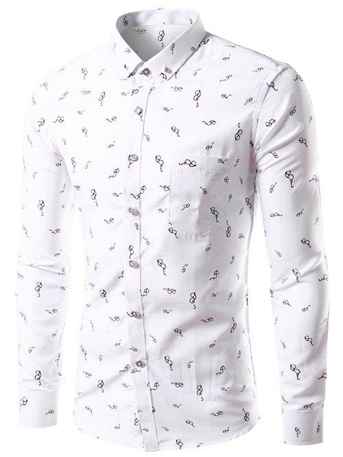 Button Down Glasses Print Shirt - WHITE 5XL