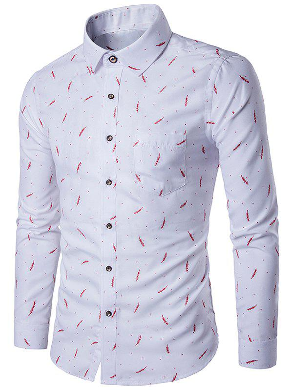 Pocket blé et Polka Dot Print Shirt - Rouge XL