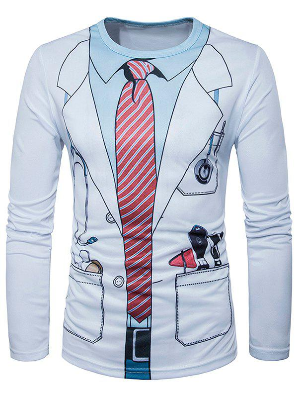 3D Doctor Costume Print T-Shirt - WHITE XL