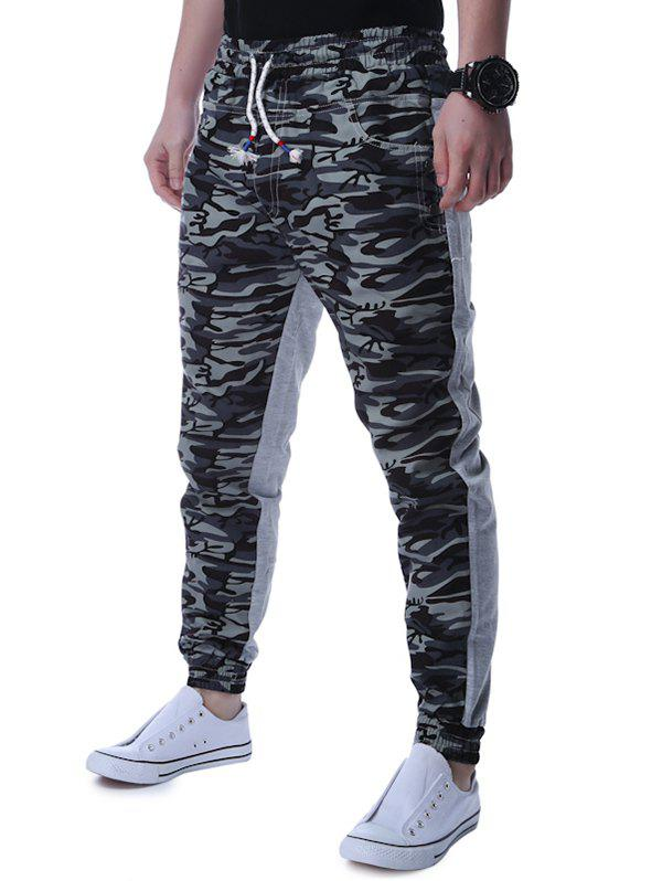 Lace Up Camouflage Panel Jogger Pants - GRAY XL