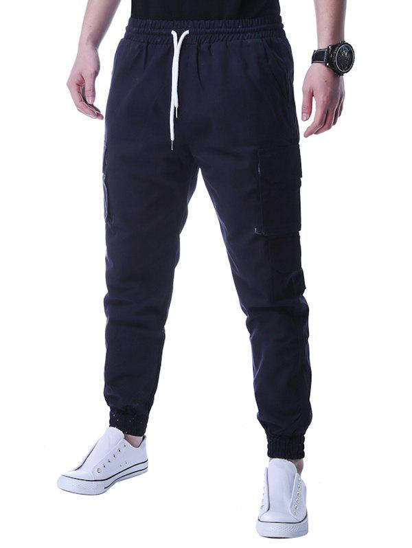 Beam Feet Graphic Applique Design Jogger Pants - CADETBLUE XL