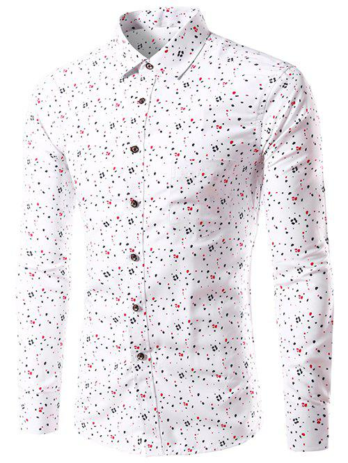 Long Sleeve Splatter Paint Dot Print Shirt - WHITE M