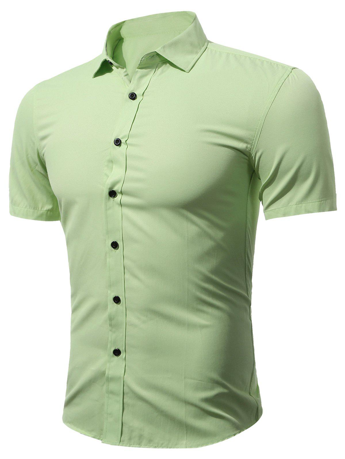 Short Sleeve Business Shirt in Slim Fit - GREEN 2XL