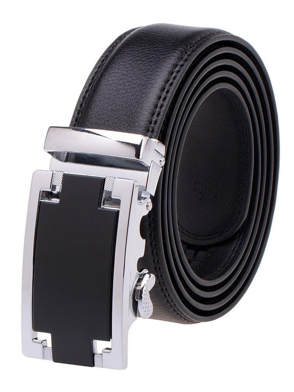 Faux Leather Automatic Buckle Plain Belt - BLACK